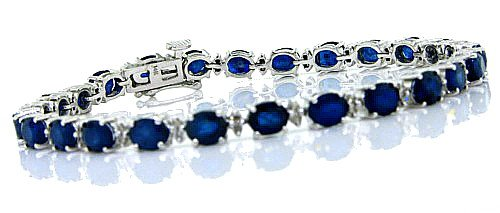 12.50 ct Genuine Sapphire Bracelet with Diamonds in 14KT Gold Plated Sterling Silver