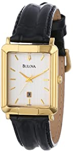 Bulova Men's 97B40 Black Tortoise Shell Leather Strap Watch