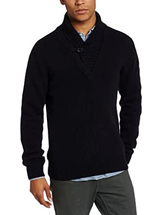 French Connection Men's Serpentine Lambswool V-Neck Sweater, Darkest Blue, Large