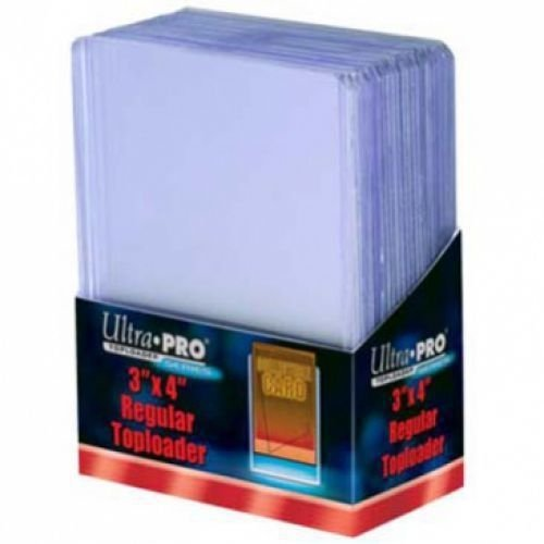 25 - Ultra Pro 3 X 4 Top Loader Card Holder for Baseball, Football, Basketball, Hockey, Golf, Single Sports Cards Top Loads - Sportcards Card Collecting Supplies (Gold Football Cards compare prices)