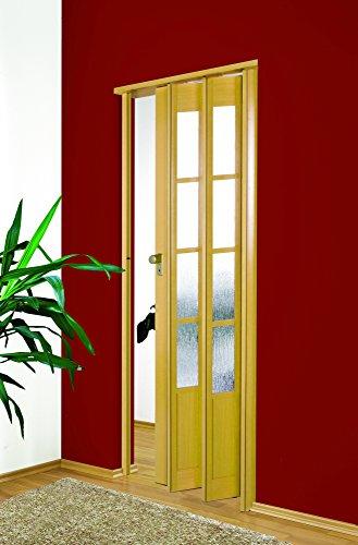 Falttür MARLEY Symphonie mit Fenster B 86 x H 205 cm Fb. Buchefarben mit Schloss