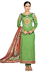 Mahiyar Charming Green Embroidered Dress Material With Dupatta