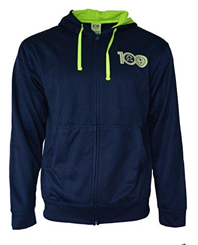 Club America Hoodie Centenario Pullover Fleece Sweatshirt Jacket Navy (Navy, L)