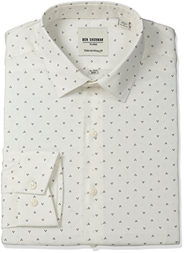 ben-sherman-mens-triple-dot-print-shirt-with-soho-spread-collar-burgundy-16-neck-34-35-sleeve