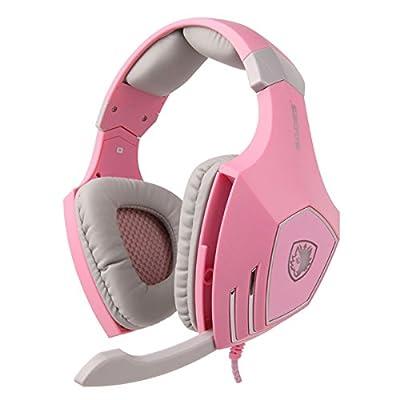 Sades A-60 7.1 Surrounding Stereo Headset Computer HIFI Vibration Gaming Headphone with Retractable Mic. (Pink)