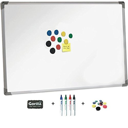 magnetic-whiteboard-60x90cm-aluminium-trim-great-value-including-4-drywipe-markers-4-x-strong-assort
