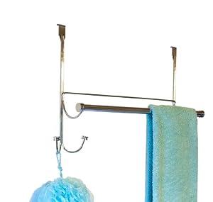 BathSense Over the Door Hook/Towel Bar Combo, Brushed Satin Nickel