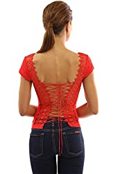 PattyBoutik Women's Corset Embroidered Lace Up Back Top