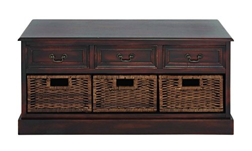 Benzara Emoting Wood Basket Low Dresser, 41.5 By 41.5 By 41.5-Inch, Brown front-657454
