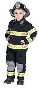 Jr. Fire Fighter Suit with helmet, size 2/3 (black)