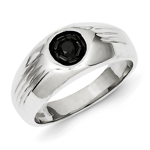 Sterling Silver Black Rhodium Black Rough Diamond Circle Mens Ring - Ring Size Options Range: R to V