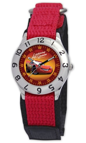 Disney Kids' D015S505 Cars Time Teacher Red Velcro Watch