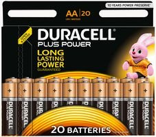 BATTERY, PLUS POWER, AA 20PK, DURALOCK 5000394017986 By DURACELL
