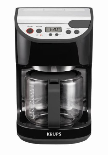 KRUPS KM611850 Precision Programmable Coffee Maker with  Aroma Selection System, 12-cup, Black