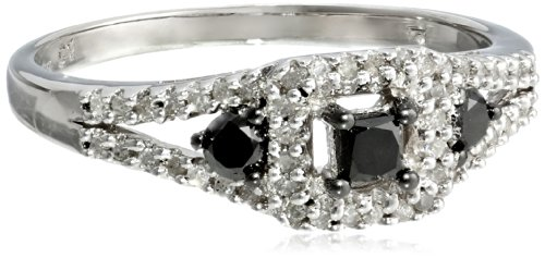 Sterling Silver Black and White Diamond Ring, (0.5 Cttw, H-I Color, I3 Clarity), Size 7