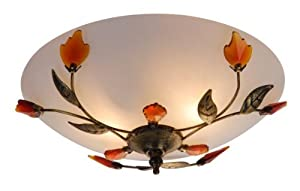 Globo Metal Opal Satined Decor-Leaves Pandora Ceiling Lamp by globo