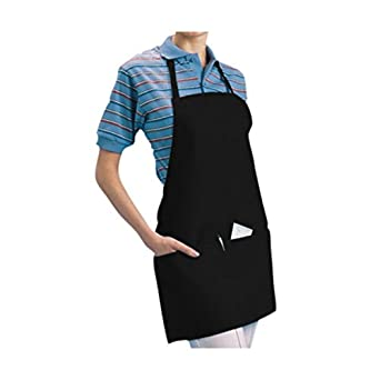 """Chef Revival 602BAFH Poly Cotton """"Front of the House"""" Professional Bib Apron with 3 Compartment Front Pocket, 25 by 28-Inch, Black"""