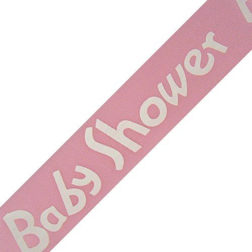 """Baby Shower Print On Pink Satin Ribbon - 5/8"""" Width - 25 Yards front-230655"""