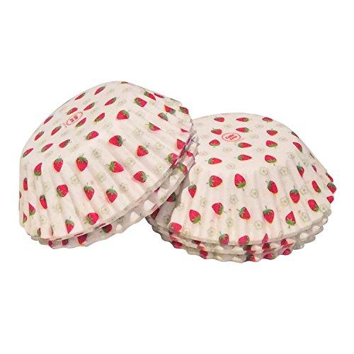 100pièces Mini Fraise gâteau Cases à dessert pour moules de cuisson à cupcakes Motif fée fraise papier cas par cakearte