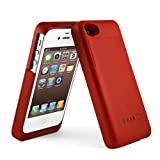 2000 mAh colourful and ultra slim external Rechargeable Spare Backup Extended Battery Charger Case Cover for Apple iphone 4 4s -Crimson