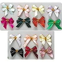 Gold Trimmed Tiny Grooming Bows with Elastic Hairband - The Perfect Touch - Bag of 25