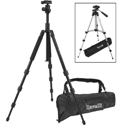 Ravelli Professional Ball Head Camera Video Photo Tripod with Quick Release Plate and Carry Bag