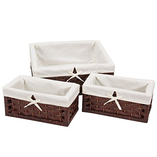 Household Essentials Set of 3 Paper Rope Storage Utility Baskets, Dark Brown Stain (Basket With Liner compare prices)