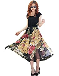 Attitudefashion Women's Crepe Kurti (Floral Black Kurti_Black_Large)