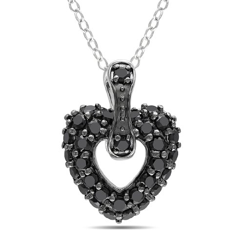 Sterling Silver 1 CT TGW Black Spinel Heart Pendant With Chain