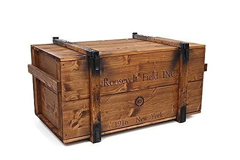 Uncle Joe's Roosevelt – cassapanca in legno in stile vintage shabby chic, colore marrone chiaro, grande, 98x 55x 48cm