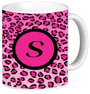 "Rikki Knighttm Letter ""S"" Initial Hot Pink Leopard Print Monogrammed Design 11 Oz Photo Quality Ceramic Coffee Mug Cup - Fda Approved - Dishwasher And Microwave Safe"