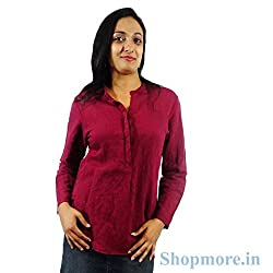 ShopMore Cotton Shirt(Maroon_Small)
