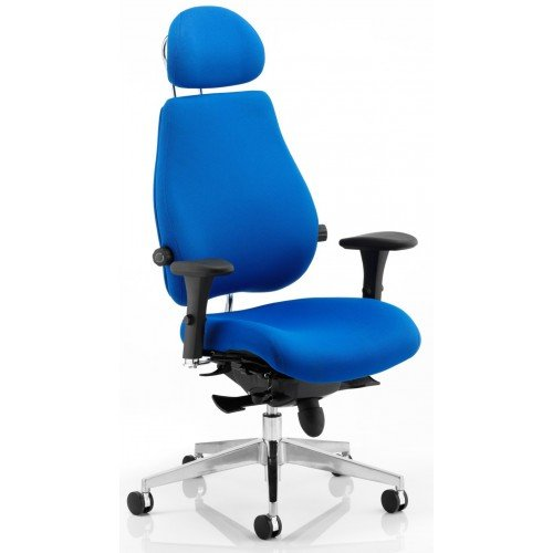 chiro plus ultimate orthopedic office chair blue fabric