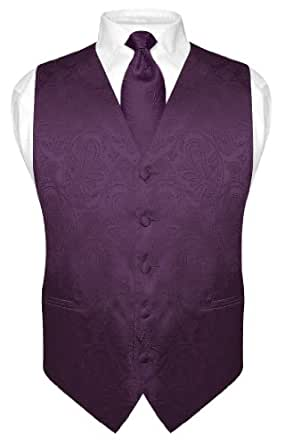 Men's Paisley Design Dress Vest NeckTie DARK PURPLE Neck Tie Set size XXL