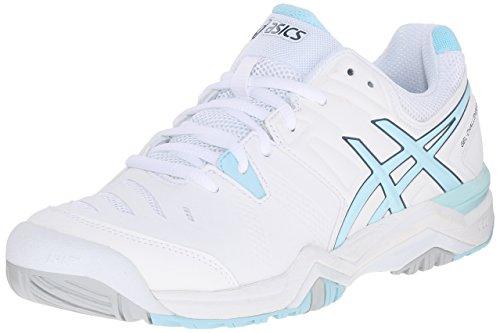 ASICS Women's GEL-Challenger 10 Tennis Shoe, White/Crystal Blue/Blue Steel, 10 M US