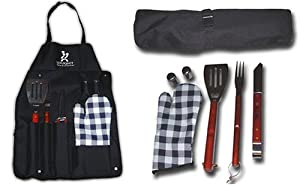 Gourmet Traditions Steel Seven-Piece BBQ Tool Set with Apron