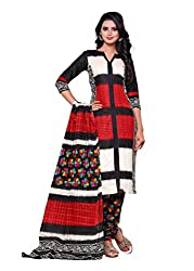 SayShopp Fashion Women's Unstitched Regular Wear Cotton Printed Salwar Suit Dress Material (ZDM-31_Red,White,Black_Free Size)