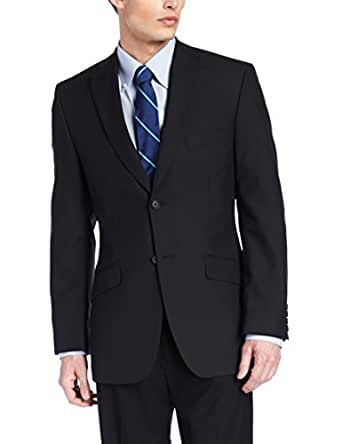 Haggar Men's Stripe Tailored Fit Two Button Suit Separate Coat,  Black, 38 S