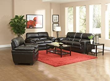 502952 Fenmore Casual Black Ultra Plush Faux Leather Loveseat by Coaster