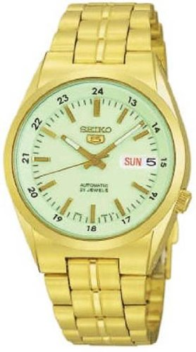 Seiko 5 Automatic Mens Watch Luminous Dial Gold Tone Stainless Steel
