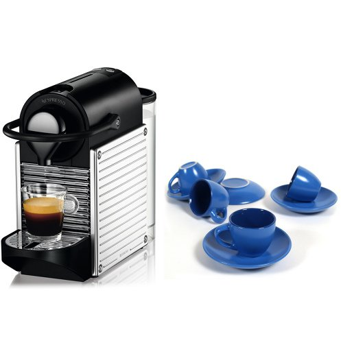 Nespresso C60 Pixie Chrome Automatic Espresso Machine With Free 8 Piece Retro Blue Cup And Saucer Set