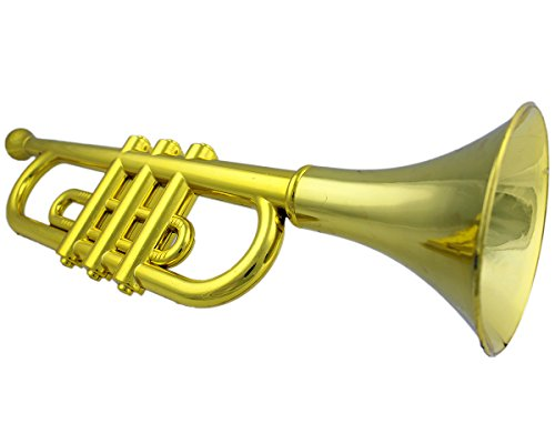 GYD-Trompete-Spielzeugtrompete-Musikinstrument-Goldfarbig-34cm