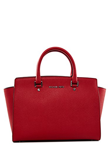 Michael Kors Selma Large Top-zip Satchel Saffiano Leather Shiny Rhodium, Color Chili (Michael Kors Selma Chili compare prices)