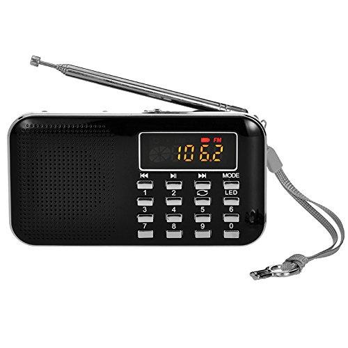 iMinker Mini portatile digitale AM   / FM dell'altoparlante di mezzi di musica MP3 Player di sostegno TF / porta USB con schermo di visualizzazione del LED, torcia elettrica di emergenza, 3.5mm Jack (Nero)