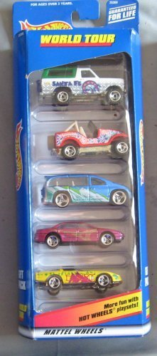 Hot Wheels World Tour Gift 5-Pack Five 1:64 Scale Collectible Die Cast Cars