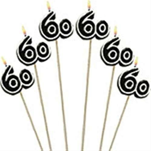 60th Birthday Candles - Cake Decoration Candle