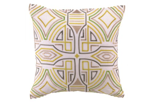 Trina Turk Ikat Retro Embroidered Decorative Pillow, 20 By 20-Inch, Yellow/Grey front-914330