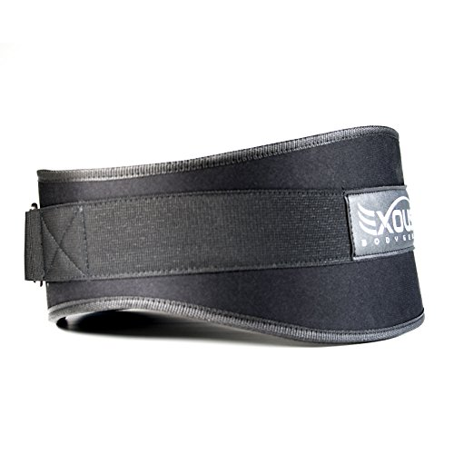 EXOUS Bodygear Performance Weight Lifting Belt 5.5inch Lumber Back Support - Adjustable Velcro Ergonomically Shaped For Squats, Power lifting - Olympic Lifts [Small 30-35