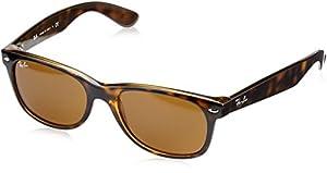 Ray-Ban New Wayfarer Sunglasses, 55mm, Shiny Avana Frame, Brown Crystal Lens RB2132-710-55