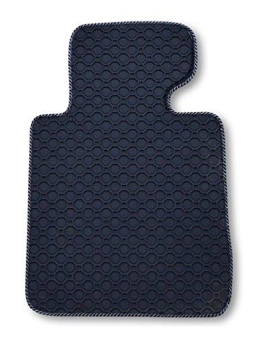 Passform Gummimatte Fussmatte Fahrermatte OCTAGON mit silber-schwarzer Bandeinfassung - passend für Mercedes E-Klasse W211 / S211 Limousine / T-Modell Kombi Bj. 03/02 - 02/09 mit Mattenhalter